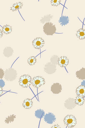 Ditsy background. Small daisy flowers seamless pattern. Gentle floral illustration. Trendy flat drawing. Good for textile, fabric, wallpaper, bedding, clothes, wrapper, surface