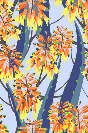 Floral composition. Vector seamless pattern with aloe flowers. Botanical background. 矢量图像