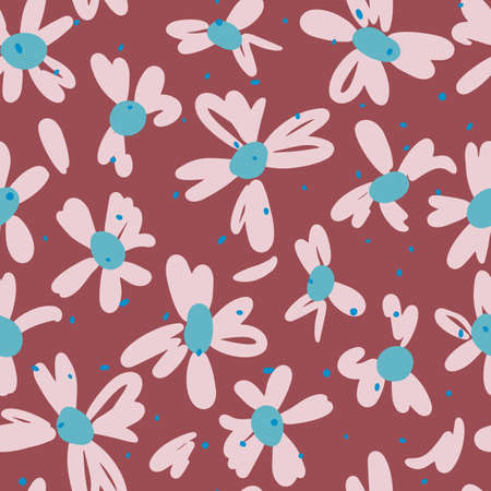 Vector botanical seamless pattern. Small daisies. Glade of wild flowers in vintage style. Flat simple floral freehand background for fashion design, textile, fabric, wallpaper, surface or wrapping. 일러스트