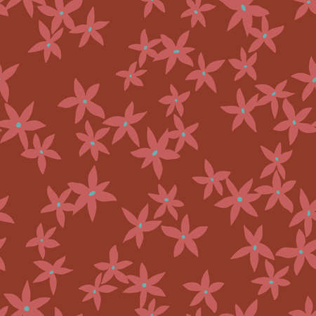 Vector botanical seamless pattern. Small daisies. Glade of wild flowers in vintage style. Flat simple floral freehand background for fashion design, textile, fabric, wallpaper, surface or wrapping. 矢量图像