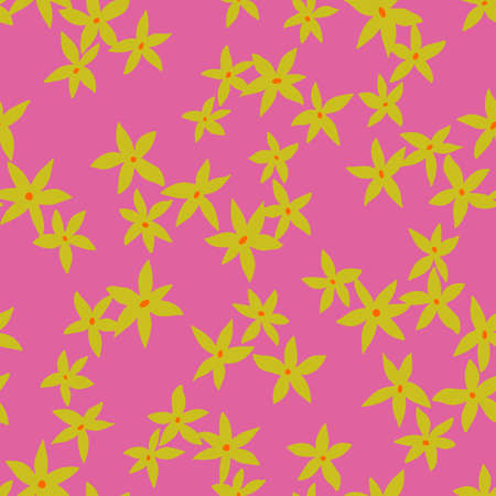 Vector botanical seamless pattern. Small daisies. Glade of wild flowers in vintage style. Flat simple floral freehand background for fashion design, textile, fabric, wallpaper, surface or wrapping. Ilustrace