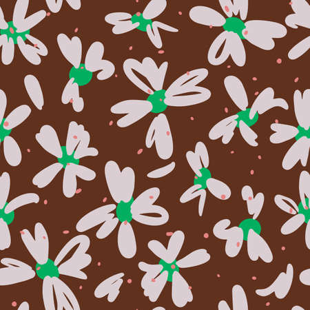 Vector botanical seamless pattern. Daisy flowers. Glade of wild meadow flowers in vintage style. Flat simple floral freehand background for fashion design, textile, fabric, wallpaper or wrapping.