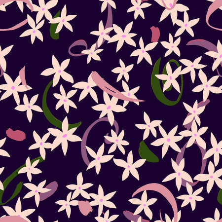 Vector botanical seamless pattern. Small daisies. Glade of wild meadow flowers in vintage style. Flat simple floral freehand background for fashion design, textile, fabric, wallpaper, surface or wrapping. 向量圖像