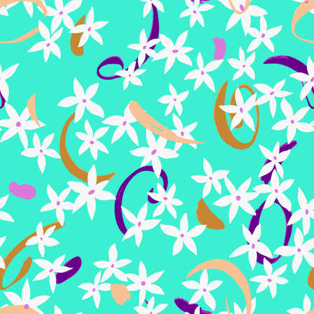 Vector botanical seamless pattern. Small daisies on memphis elements. Glade of wild meadow flowers in vintage style. Flat simple floral freehand background.