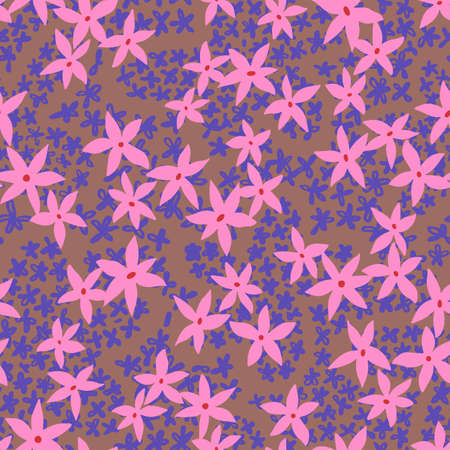 Cute floral background. Botanical seamless pattern made of small daisy flowers forming the flower petals. Simple plain illustration. Ilustrace