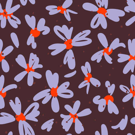 Vector botanical seamless pattern. Small daisies. Glade of wild flowers in vintage style. Flat simple floral freehand background for fashion design, textile, fabric, wallpaper or wrapping.