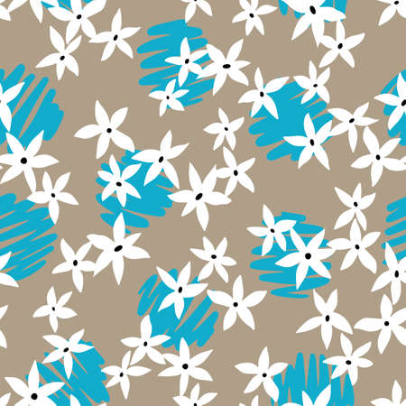 Mixed floral and polka dot background. Botanical seamless pattern made of small meadow daisy flowers. Simple flat illustration.