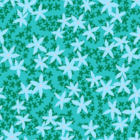 Cute floral background. Botanical seamless pattern made of small daisy flowers forming the flower petals. Simple plain illustration. Vector Illustratie
