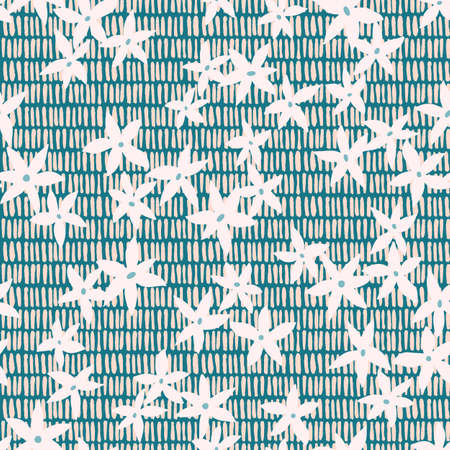 Mixed floral and dashed background. Botanical seamless pattern made of small meadow daisy flowers on weaving stripes texture. Simple flat illustration.