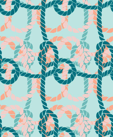 Seamless marine rope knot pattern. Endless illustration with color rope ornament and nautical sea knots. Trendy maritime style background. Rope texture.