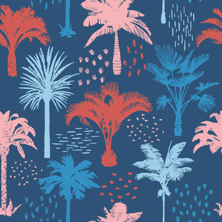 Palm tree seamless pattern with abstract doodle elements. Silhouettes of drawn tropical plants. Flat Hawaiian background with banana and coconut palm trees. For t-shirt, cloth, fabric, textile,