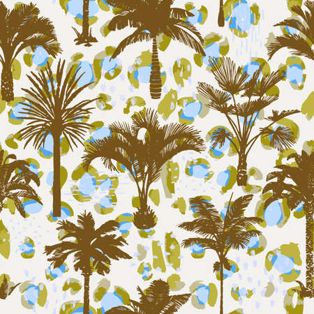 Palm tree seamless pattern with abstract animal skin texture. Silhouettes of drawn tropical plants on leopard background. Flat trendy exotic background with banana and coconut palm trees.