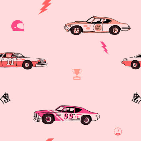 Racing cars seamless pattern. Hand-drawn muscle cars with isolated equipment and tools for racing. Pen graphic. Racing sport illustration. Backround for boys. 일러스트