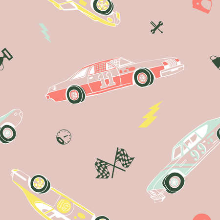 Racing cars seamless pattern. Hand-drawn muscle cars with isolated equipment and tools for racing. Pen graphic. Racing sport illustration. Backround for boys.