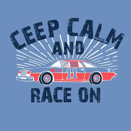 Sport racing car t-shirt graphics. Vintage graphic tee. Hand-drawn retro sport car. Modern grunge typography.