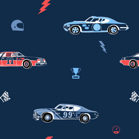 Racing cars seamless pattern. Hand-drawn muscle cars with isolated equipment and tools for racing. Pen graphic. Racing sport illustration. Backround for boys. Illusztráció