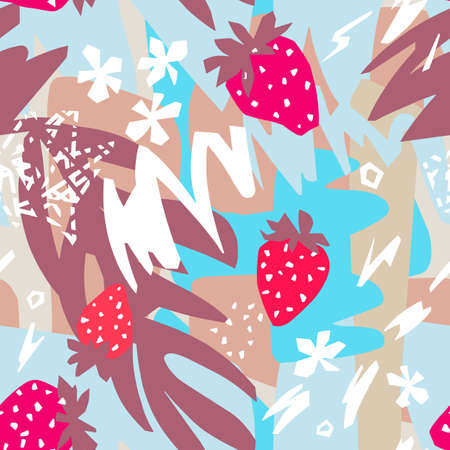 Cutout flowers, berries, leaves with geometrical shape and doodles. Abstract flat botanical seamless pattern. Collage made of floral paper cut shapes.