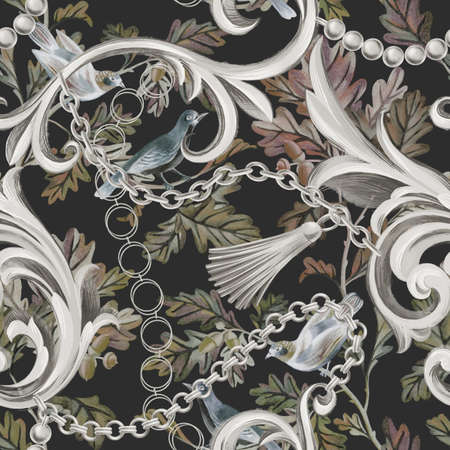 Seamless pattern with birds on branches and damask baroque elements. Graphic. Textile and fabric design,