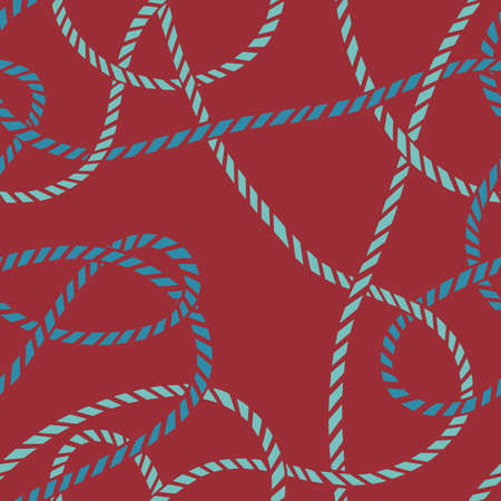 Seamless marine rope knot pattern. Endless illustration with color rope ornament and nautical sea knots. Trendy maritime style background. Rope texture. For textile, fabric prints, wrapping.