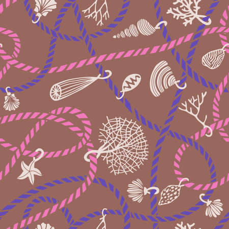 Seamless marine rope knot pattern. Illustration with color ropes ornament and Jewelry made of seashells, corals, algae and starfish. Trendy fashion maritime style background. Rope texture.