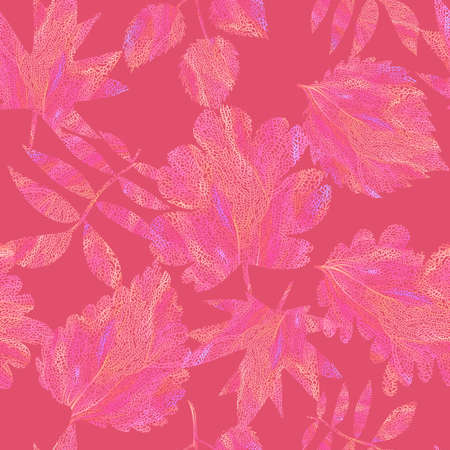 Floral botanical background. Seamless pattern made of autumn leaves, flowers, twigs and branches. Leaf illustration with collage graphic ornate knitting net texture. Textile and fabric design.