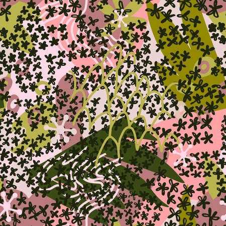 Floral doodle art seamless pattern with different abstract shapes and textures. Cute collage with small daisy flowers. Vector. Trendy flat style fashion design for fabric, textile, wrapping,
