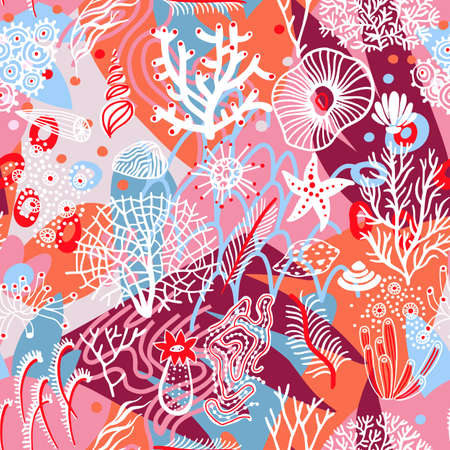 Artistic geometric seamless pattern with floral and sea elements and different textures. Collage. Trendy flat doodle background with abstract marine organic shapes.