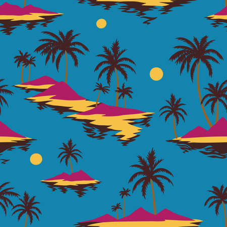 Vintage seamless island pattern. Colorful summer tropical background. Yellow landscape with palm trees, beach and ocean. Flat design, vector. Good for textile, fabric, t-shirt, wallpaper, wrapping.