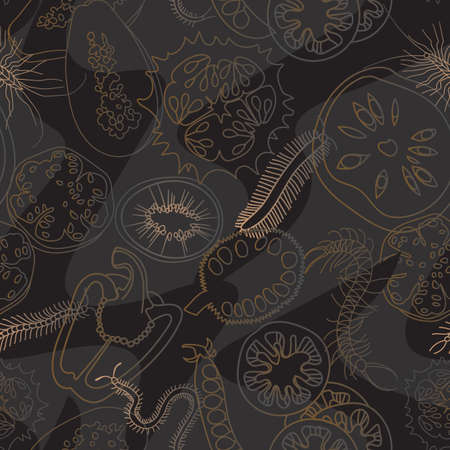 Botanical seamless pattern. Sliced vegetables and fruits. Centipedes. Line drawing. Illustration