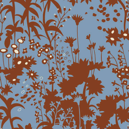 Floral botanical silhouettes. Flat seamless pattern made of meadow flowers, plants, herbs. Provence background. Fabric and textile design. For wallpaper, wrapping, surface.
