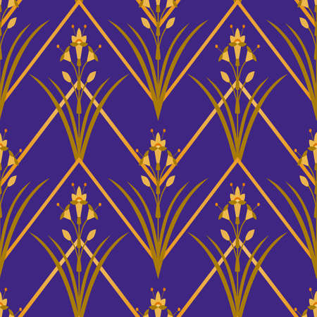 Floral ornament with abstract geometric oval shapes. Flat vector flowers seamless pattern. Art deco style. Fashion design for wallpaper, fabric, textile, wrapping, surface, paper.