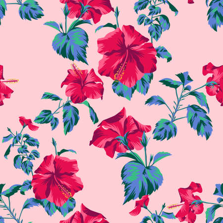 Beautiful botanical repeat background. Floral seamless pattern with Chinese Hibiscus rose flowers. Graphic texture art design, For textile, fabric, fashion, wrapper and surface. Illustration