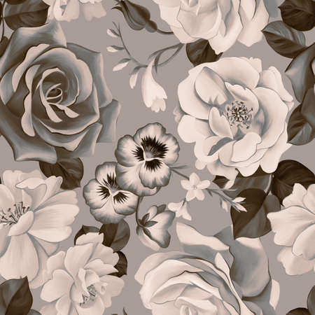 Floral botanical seamless pattern. Large roses and pansies buds bouquet. Graphic texture. Fashion flowers. Textile and fabric design. Standard-Bild