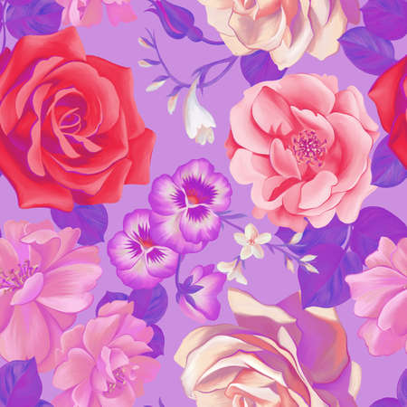 Bright floral botanical seamless pattern. Opulent colorful large roses and pansies buds bouquet. Graphic texture. Luxury fashion flowers. Textile and fabric design. Standard-Bild