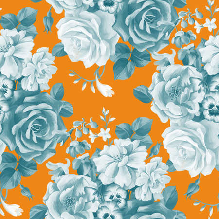 Bright floral botanical seamless pattern. Opulent colorful large roses buds bouquet. Graphic pencil texture. Luxury fashion blooming flowers. Textile and fabric design.