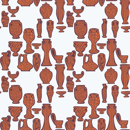Seamless pattern with antique vases shapes and silhouettes. Vintage objects background. Greek and roman amphoras and vessels for food, wine, grain, oil and incense.