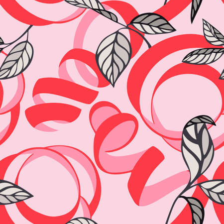 Lemon peel cut and twist. Citrus tree leaves, Botanical seamless pattern. Plant and fruit vegetal background in trendy flat style. Spiral ribbons. Textile and fabric design. Illustration