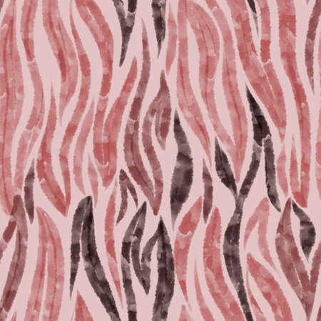 Watercolor stripes pattern. Colorful zebra tiger skin repeat background. Hand drawn artistic animal fur texture. Curved wavy lines ornament. Textile and fabric fashion design for wrapper and surface.