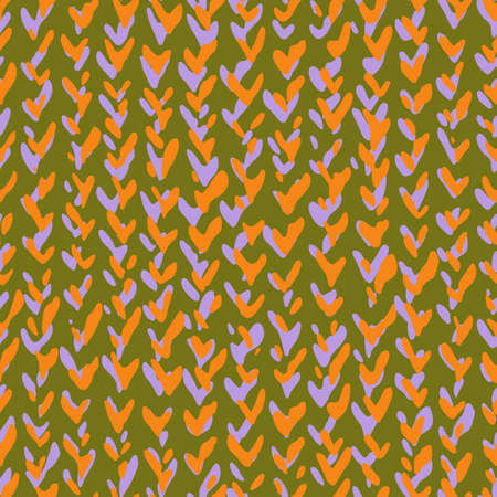 Hand drawn decorative knitting braids texture, Stylized sweater fabric. Simple geometric shapes background made of ticks, checkmarks and wry lines. Chevron herringbone seamless pattern. Illustration