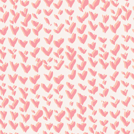 Vector background. Simple seamless pattern with pink decorative hearts texture. Valentine day ornament.