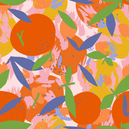 Mixed orange seamless pattern with abstract shapes. Artistic floral fruit illustration. Cut out paper design. Flat botanical background.