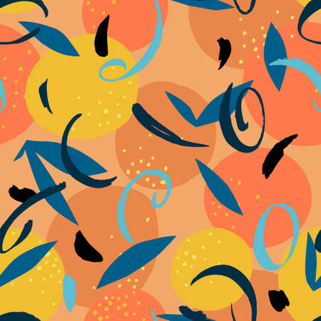 Orange seamless pattern mixed with simple squiggle elements. Artistic floral fruit illustration. Cut out paper design. Flat botanical background.