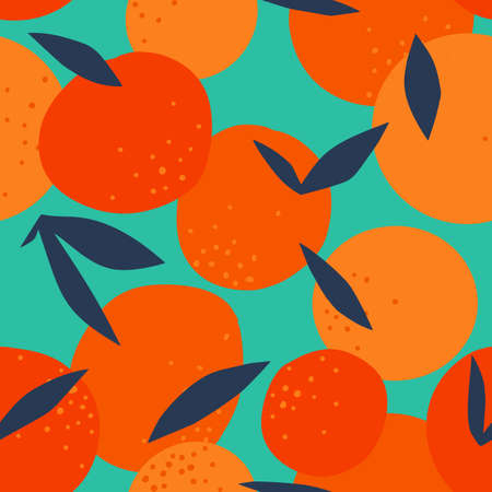 Floral Fruit seamless pattern made of oranges with leaves. Artistic background. Cut out paper design. Top view. Flat botanical illustration.