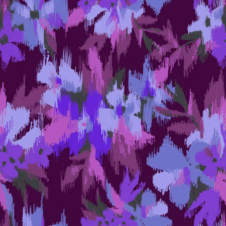 Blurry flowers bouquet seamless pattern. Summer garden mixture ornament with large flower heads. Watery florals and embroidery textured surface. Blurring premium design for textile, fabric and fashion Standard-Bild