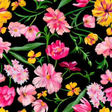 Bright botanical background. Seamless pattern made of garden delicate flowers in bloom isolated on black, Classic vintage style. Floral colorful ornament for fabric, textile, fashion design.