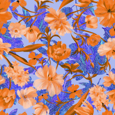 Summer floral ornament. Sophisticated abstract fantasy flowers on plant leaves with collage graphic ornate knitting net texture. Botanical floral seamless pattern.