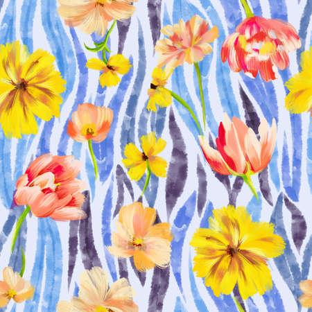 Sophisticated floral seamless pattern. Mixed garden flowers with watercolor striped animal skin zebra tiger texture. Botanical ornament for fashion design, textile and fabric. Standard-Bild