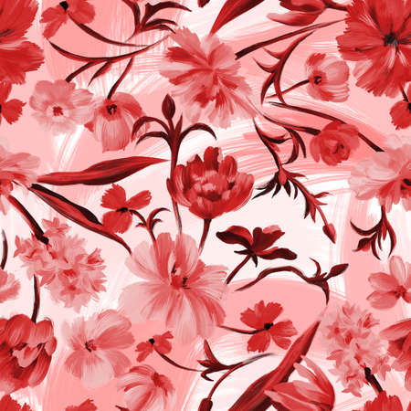 Bright botanical background. Seamless pattern made of garden delicate flowers in bloom. Classic vintage style. Floral colorful ornament for fabric, textile, fashion design and wrapping. Stock Photo