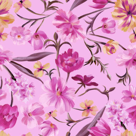 Bright botanical background. Seamless pattern made of garden delicate flowers in bloom. Classic vintage style. Floral colorful ornament for fabric, textile, fashion design and wrapping.