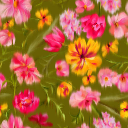 Trendy elegant floral seamless pattern. Defocused bright garden flowers with large blooming buds. Blurred summer botanical ornament for fashion design, textile and fabric. Standard-Bild